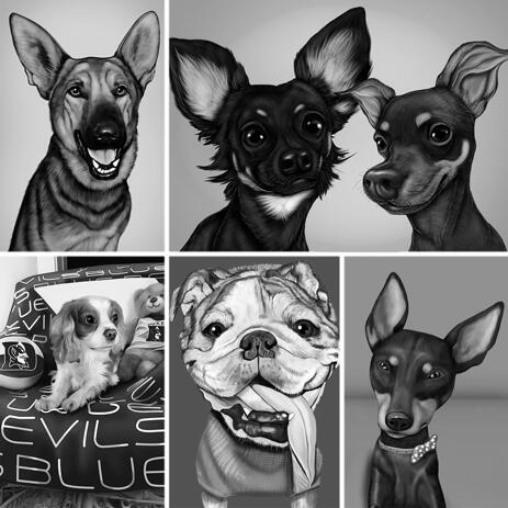 Black and White Dog Portrait Caricature with Background - example