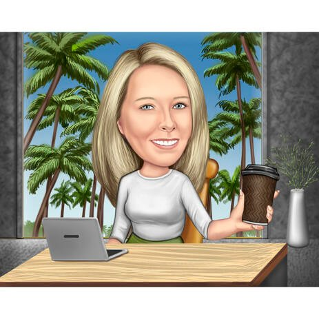 Office Caricature with Desk, Laptop and Coffee for Custom Office Lady Gift - example