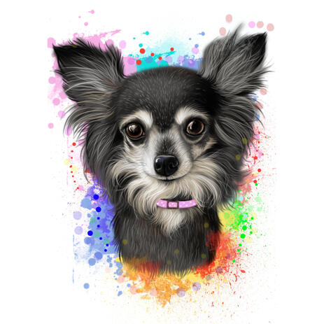 Chihuahua Natural Coloring Caricature from Photos with Watercolor Splashes - example