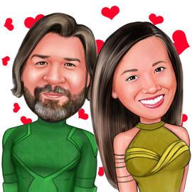 Dibujos animados de pareja de superhéroes personalizados de fotos