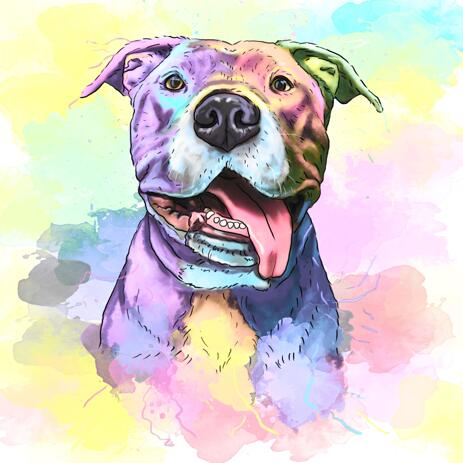 Pastel Watercolour Dog Portrait with Beautiful Background - example