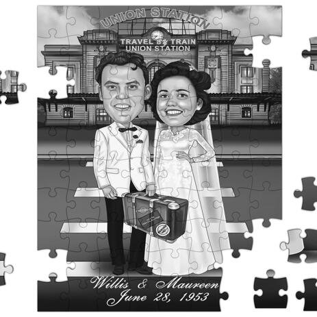 Funny Wedding Caricature for Bride and Groom Printed on Puzzle - example