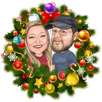 Christmas Couple Caricature in Christmas Wreath