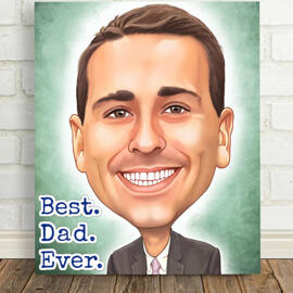 Print on Stretched Canvas: Custom Father's Day Cartoon Drawing from Photo