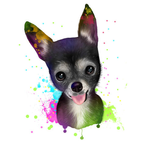 Pet Caricature Portrait from Photo with Rainbow Watercoloring Effect for Pet Lovers Gift - example