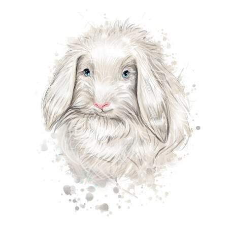 Rabbit Portrait from Photos in Watercolor Natural Coloring - example