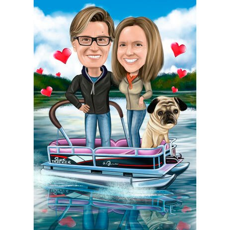 Couple with Pet - Custom Colored Caricature from Photos with Background - example