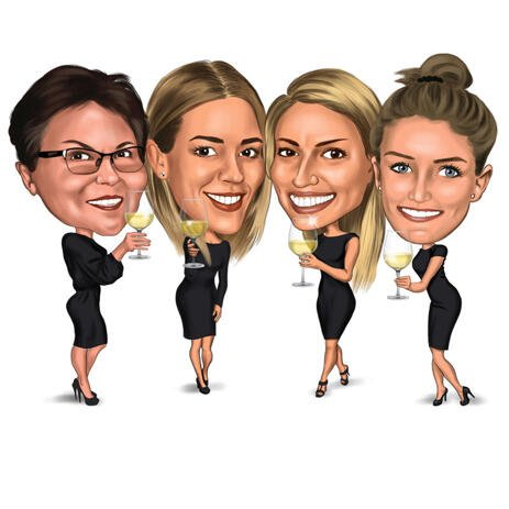 Big Heads - Girls Toasting Caricature from Photos - example