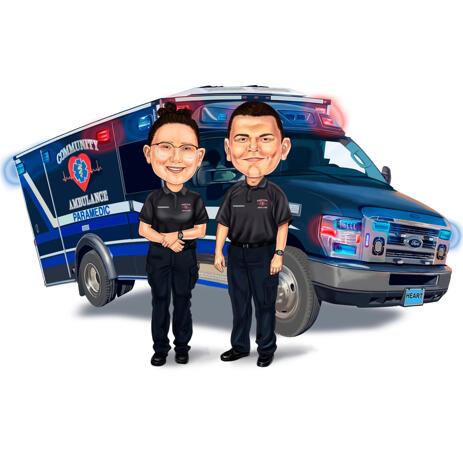 Cadeau de caricature de collègues paramédicaux personnalisés avec ambulance en arrière-plan - example
