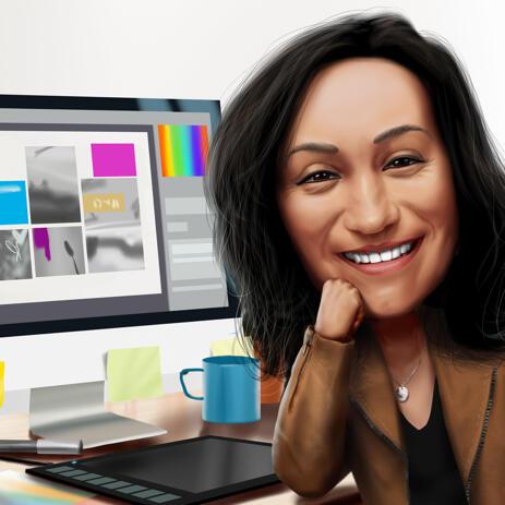 Mors dag yrken Tecknad teckning i digital färgad stil - example