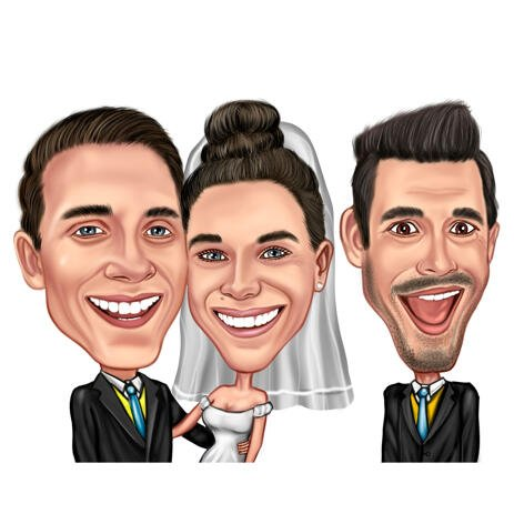 Groom with Bride and Best Man Cartoon from Photos in Funny Exaggerated Caricature Style - example