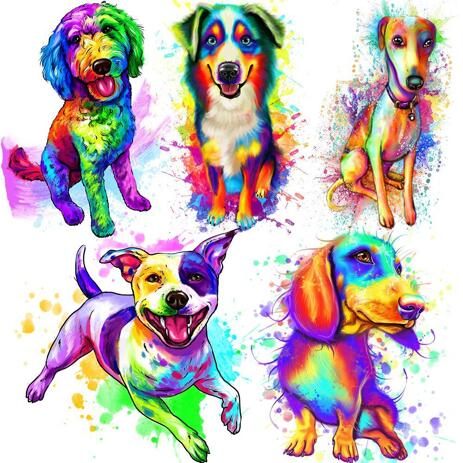 Vibrant Dog Painting in Pastel Artistic Style - example