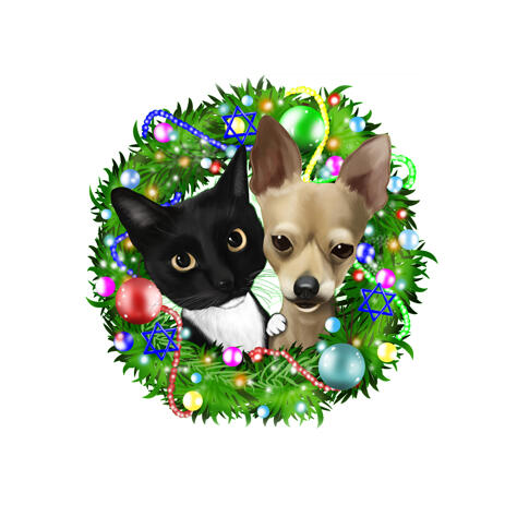 Pet Caricature for Christmas Card in Christmas Wreath - example