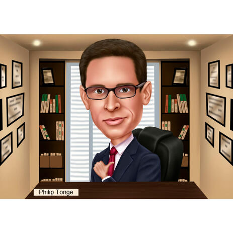 Boss Manager Caricature in Colored Style with Office Background from Photos - example
