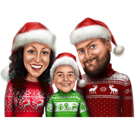 Ugly Sweater Caricature from Photo for Christmas Card - example