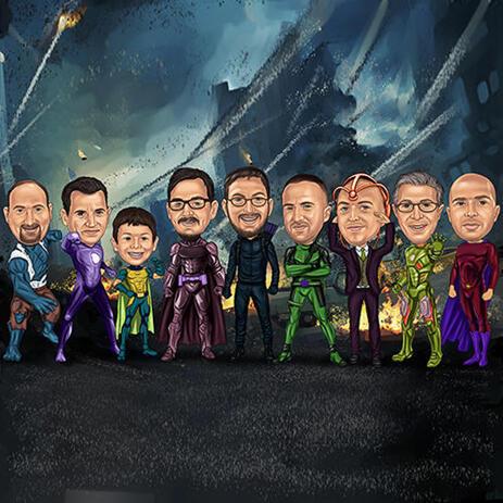Caricature de garçons d'honneur de super-héros à partir de photos - example