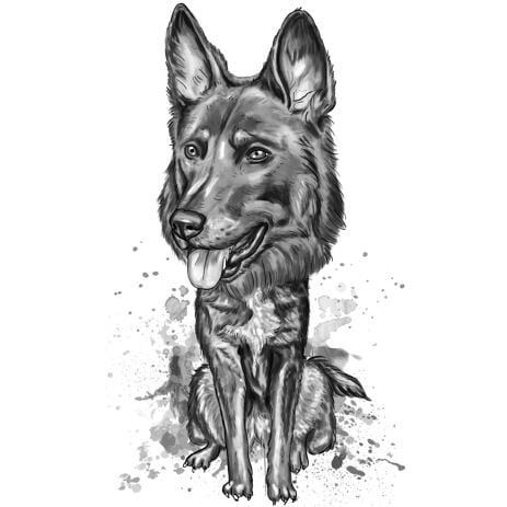Retrato de cuerpo entero de carbón de leña de perro pastor alemán en estilo blanco y negro de la foto - example