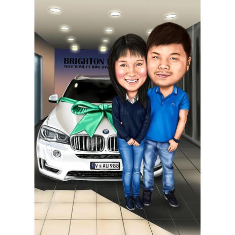Couple with Dream Car Caricature from Photos - example