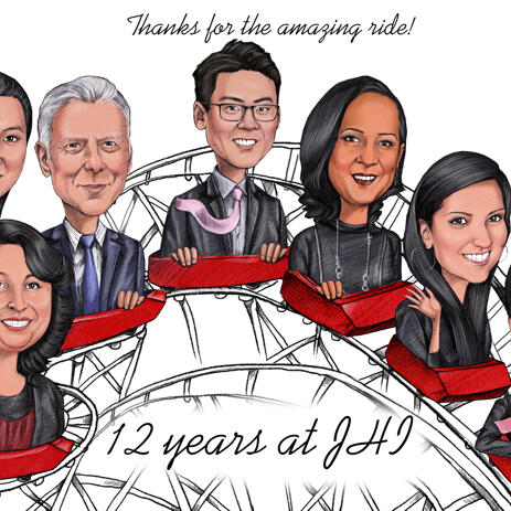 Farewell Group Caricature from Photos - example