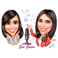 Podcast Cover Logo Design Caricature of Two Persons in Exaggerated Cartoon Style