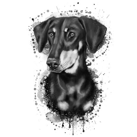 Dachshund Portrait Cartoon from Photos in Black and White Watercolor Style - example