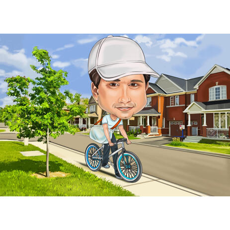 High Exaggerated Color Style Bike Rider Cartoon Caricature Drawing with Custom Background - example