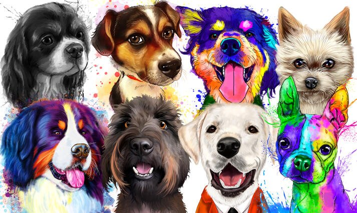 Dogs Caricatures and Portraits large example