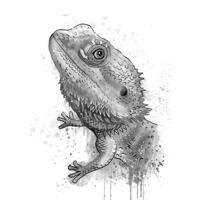 Портрет рептилии в оттенках серого в акварельном стиле по фотографиям