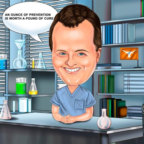 Pharmacist Caricature with Personalized Saying for Pharmacist Gift - example