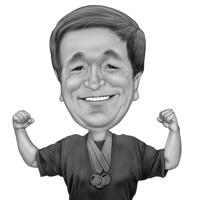 Coach-karikatuur van foto in overdreven zwart-wit cartoonstijl