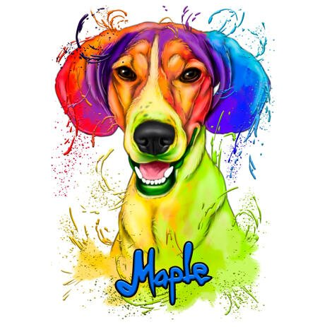 Custom Beagle Cartoon Drawing in Bright Watercolor Style from Photos - example