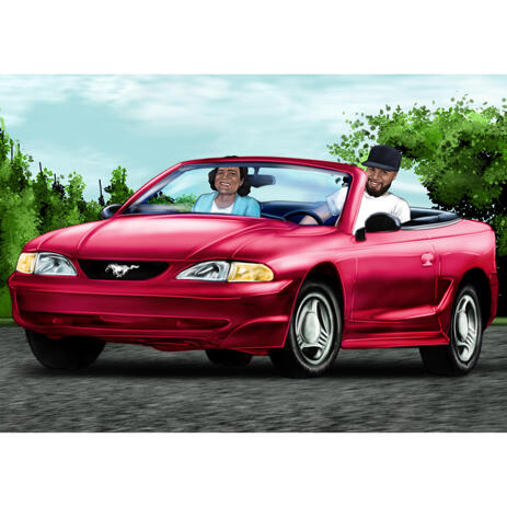 Two Persons in Car Portrait from Photos with Colored Background - example