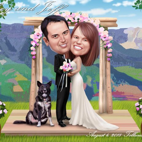 Bride and Groom Caricature with Pets - example