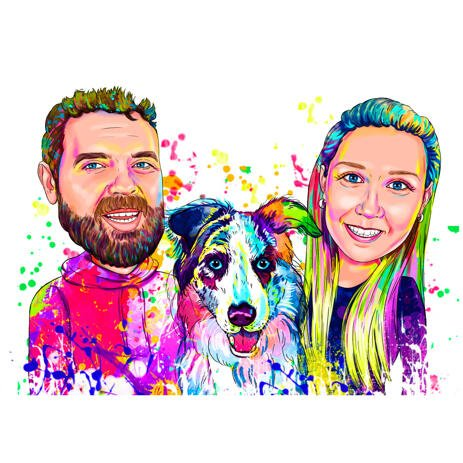 Couple with Australian Shepherd Dog Portrait in Bright Watercolor Style from Photo - example