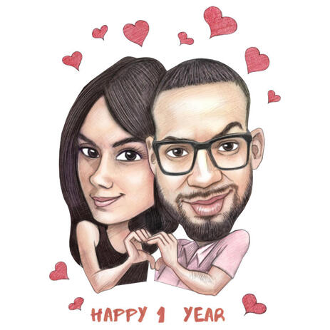 Couple Caricature from Photos for Anniversary Gift - example