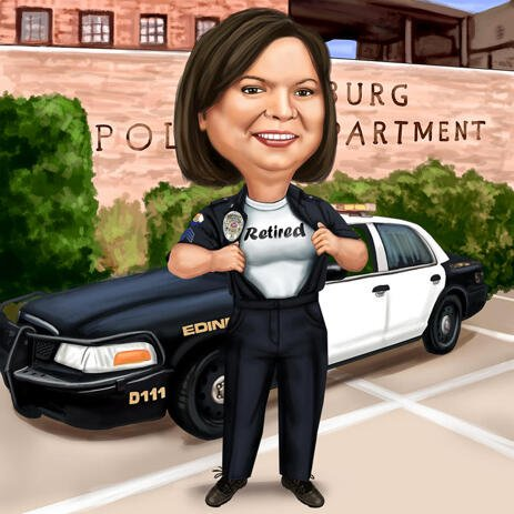 Police Officer Caricature for Police Retirement Gift - example