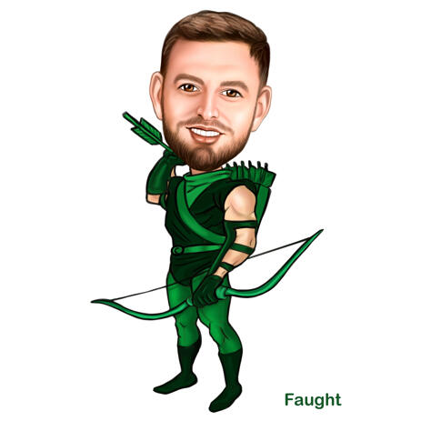 Man as Robin Hood Character - Custom Caricature Gift Hand Drawn from Photos - example