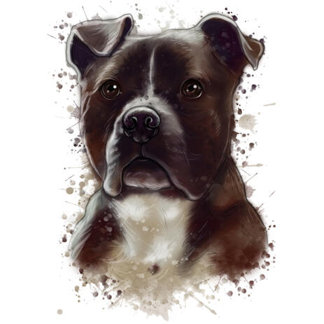 Staffordshire Terrier Portrait in Natural Watercolor Style - example