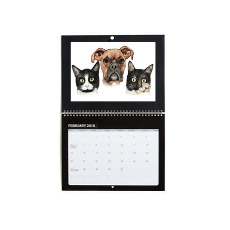 Pets Caricature Printed on Calendar - example