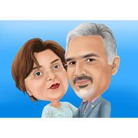 Toucher le portrait de dessin animé commémoratif de superbes grands-parents dans un style de couleur avec fond bleu ciel