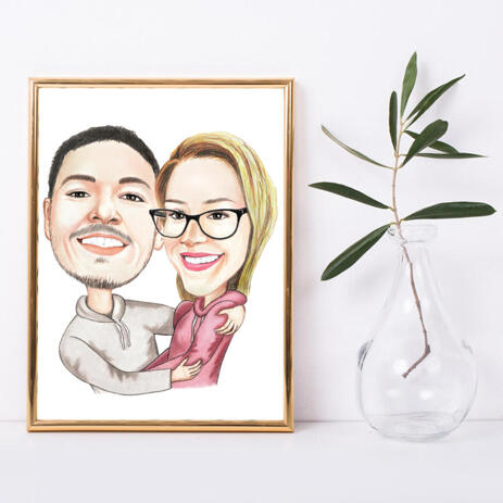 Couple Hug Caricature Drawing with White Background on Poster Print - example