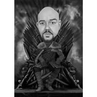 Пользовательская карикатура на фанатов из фильма Игра престолов в черно-белом цвете