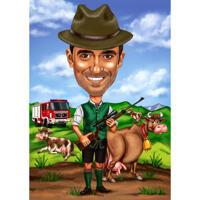 Caricature de chasseur personnalisée à partir d'une photo pour un cadeau personnalisé parfait