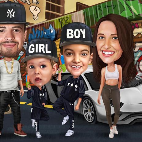 كاريكاتير العائلة يضم جميع الأعضاء الهوايات من الصور - example