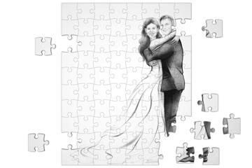 Just Married Caricature Printed on Puzzle