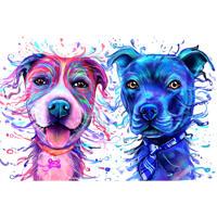 Hundepaar-Karikatur-Porträt im hellen Aquarell-Stil von Fotos