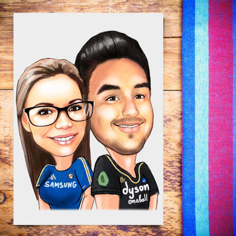 Sport Couple Caricature in Colored Style from Photos on Poster - example