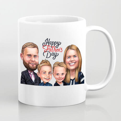 Photo Mug: Printed Cartoon Drawing for Father's Day Gift - example