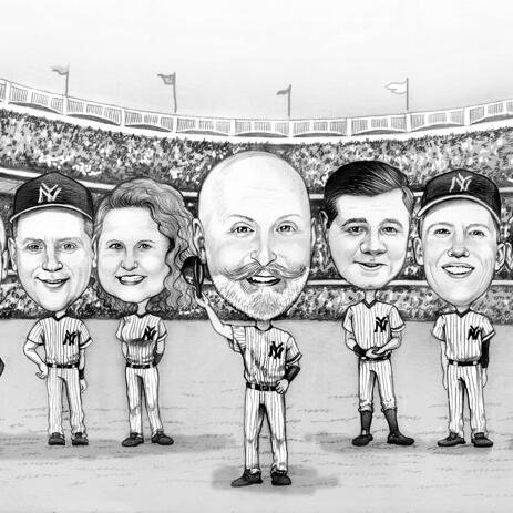 Caricature du groupe de l'équipe de baseball à partir de photos - example