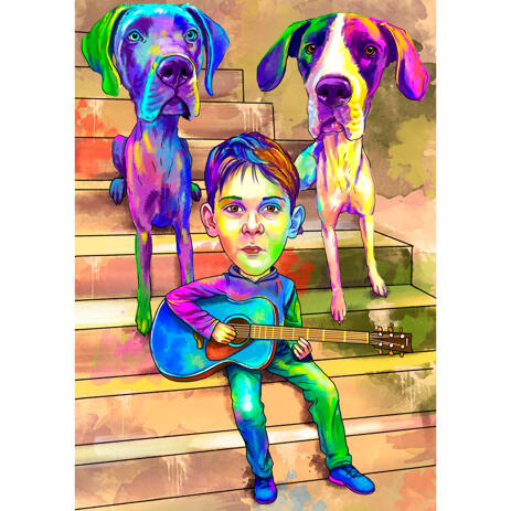Kid with German Mastiff Dogs Cartoon Portrait Hand Drawn in Watercolor Style - example